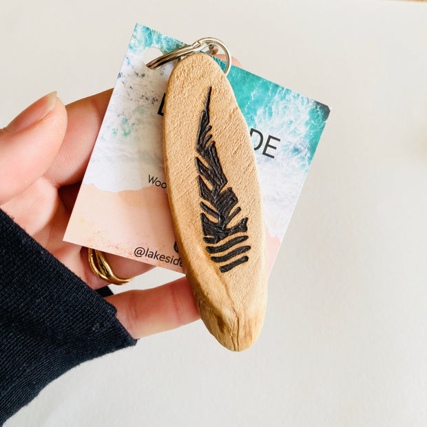 Lakeside Burn Wood Key Chains + Magnets