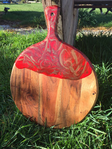 Paddle Board - Round with Red and Gold Resin