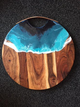 Load image into Gallery viewer, Round Grazing Board with Copper Handle - Ocean style