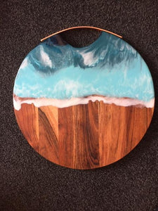 Round Grazing Board with Copper Handle - Ocean style