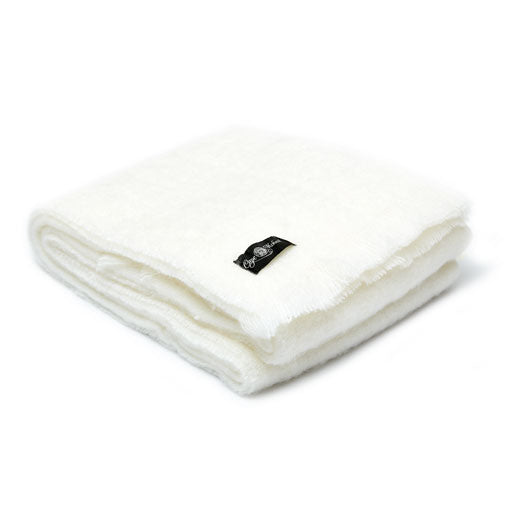 Iceberg white mohair blanket by Cape Mohair
