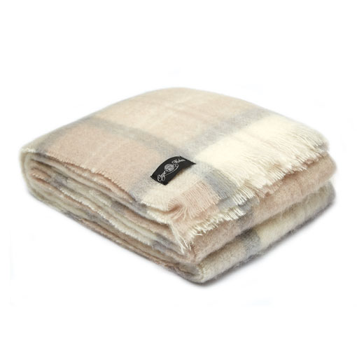 Earth Plaid Mohair Blanket