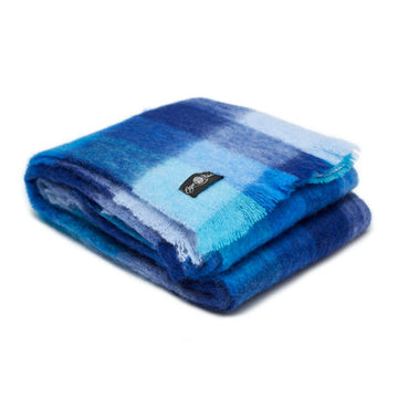 Blues Plaid Mohair Blanket