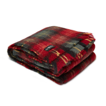 Cherry Plaid Mohair Blanket