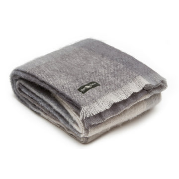 grey Pebble Beach mohair blanket by Cape Mohair in the Mohair Mill Shop made in South Africa