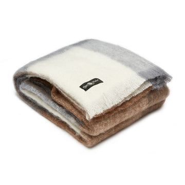 brown and grey coffee house mohair blanket by Cape Mohair, made in South Africa and sold by the mohair Mill Shop