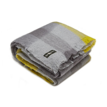 Moorlands mohair blanket with grey and lime, by Cape Mohair, made in South Africa and sold by the Mohair Mill Shop