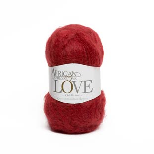 Raspberry red mohair knitting yarn