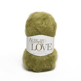Avocado green mohair knitting yarn