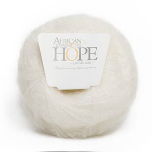 White kid mohair yarn