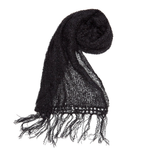 black mohair scarf by adeles mohair sold by the mohair mill shop