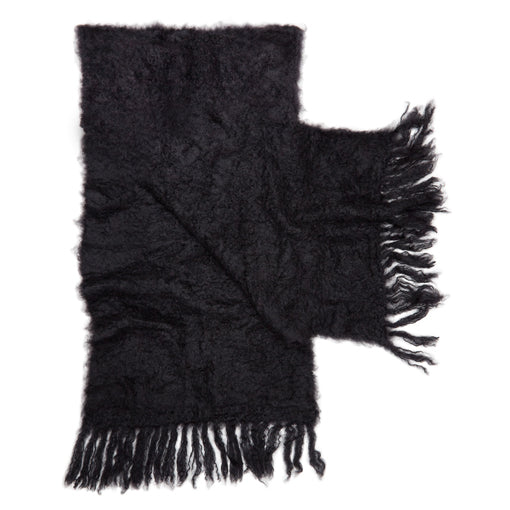 Black mohair fluffy shawl by Adeles Mohair made in South Africa for the Mohair Mill Shop