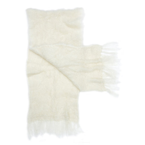 Cream fluffy mohair shawl by Adeles mohair made in South Africa for the Mohair Mill Shop