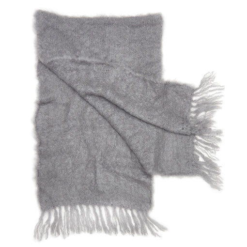 Grey mohair fluffy shawl by Adeles mohair made in South Africa for the Mohair Mill Shop