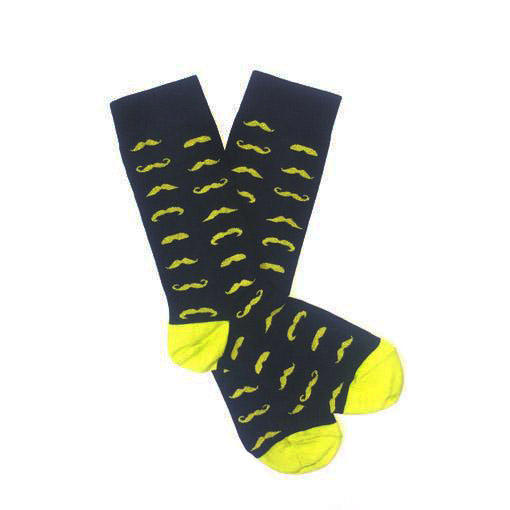 Old School Sock Co | MOustache socks reload Navy & Yellow