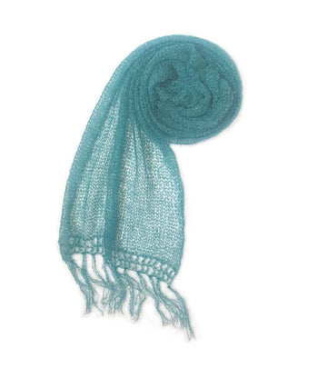 Extra Fine Mohair Scarf | Turquoise green