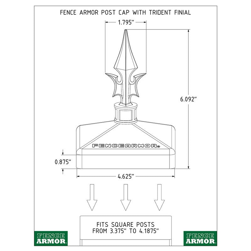 Fence Armor® Post Cap with Trident Finial