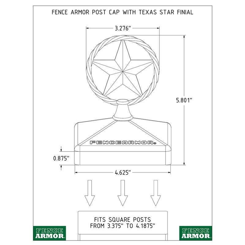 Fence Armor® Post Cap with Texas Star Finial