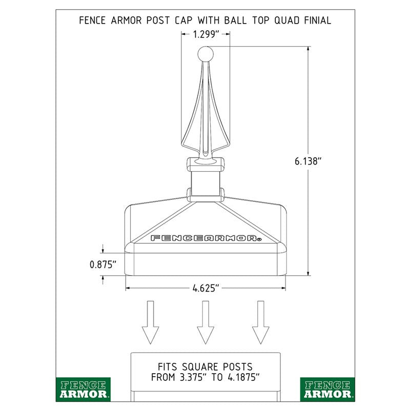 Fence Armor® Post Cap with Ball Top Quad Finial