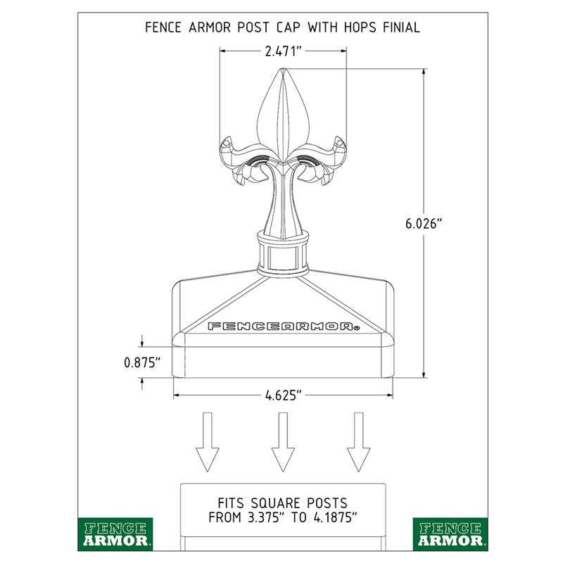 Fence Armor® Post Cap with Hops Finial