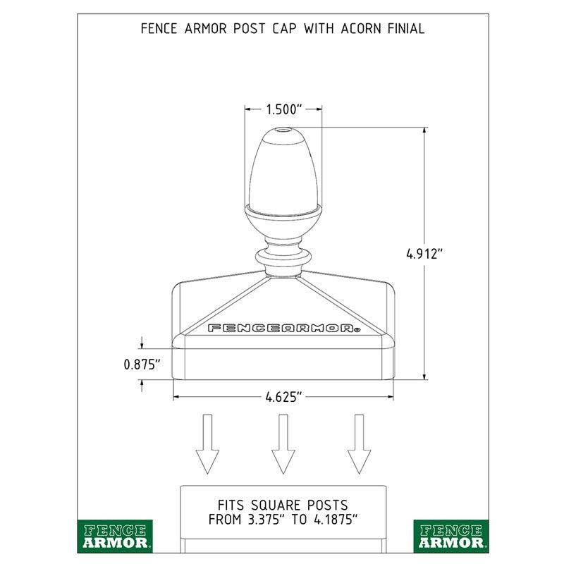 Fence Armor® Post Cap with Acorn Finial