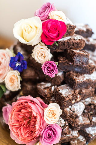 Alternative wedding cake brownie tower