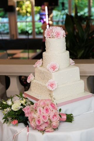 4 tier wedding cake, fruit, lemon, vanilla and chocolate