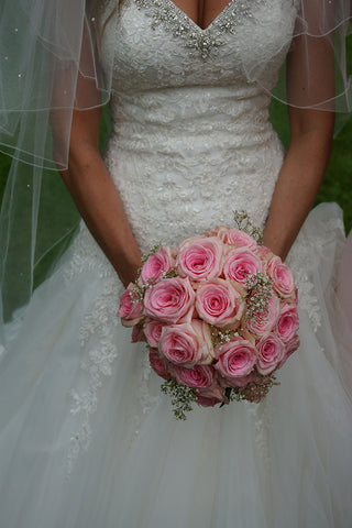 Mori Lee Wedding Dress and Pink Roses Wedding Bouquet