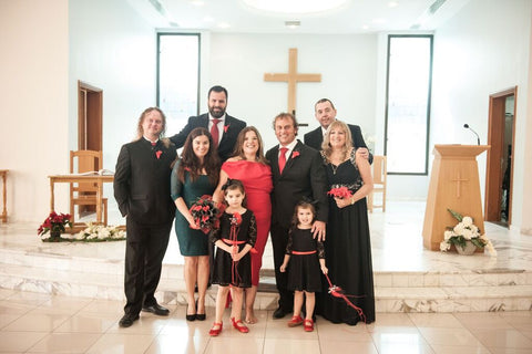 Red and Black Dubai wedding at Christ Curch Jebel Ali