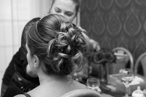 Bridal up do for winter wonderland wedding