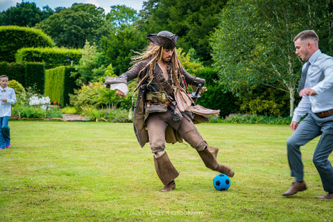 Jack Sparrow playing football with guests