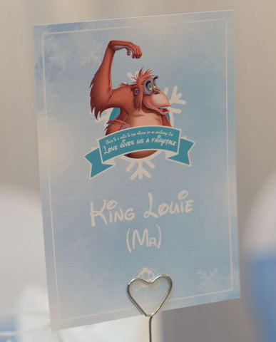 King Louie Disney Wedding Table Name Card Winter Wonderland Wedding