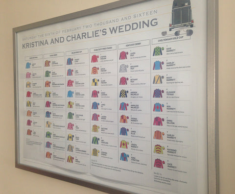 At the Races themed wedding table plan