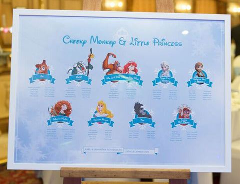 Disney Winter Wonderland Wedding Table Plan