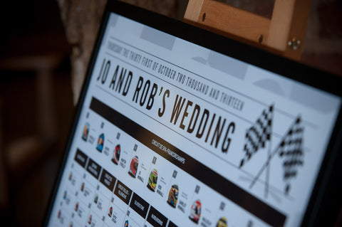 Formula 1 /F1 Wedding Table Plan in situ close up