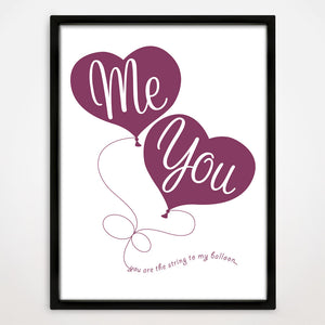 Balloon Heart Print in Blackcurrant
