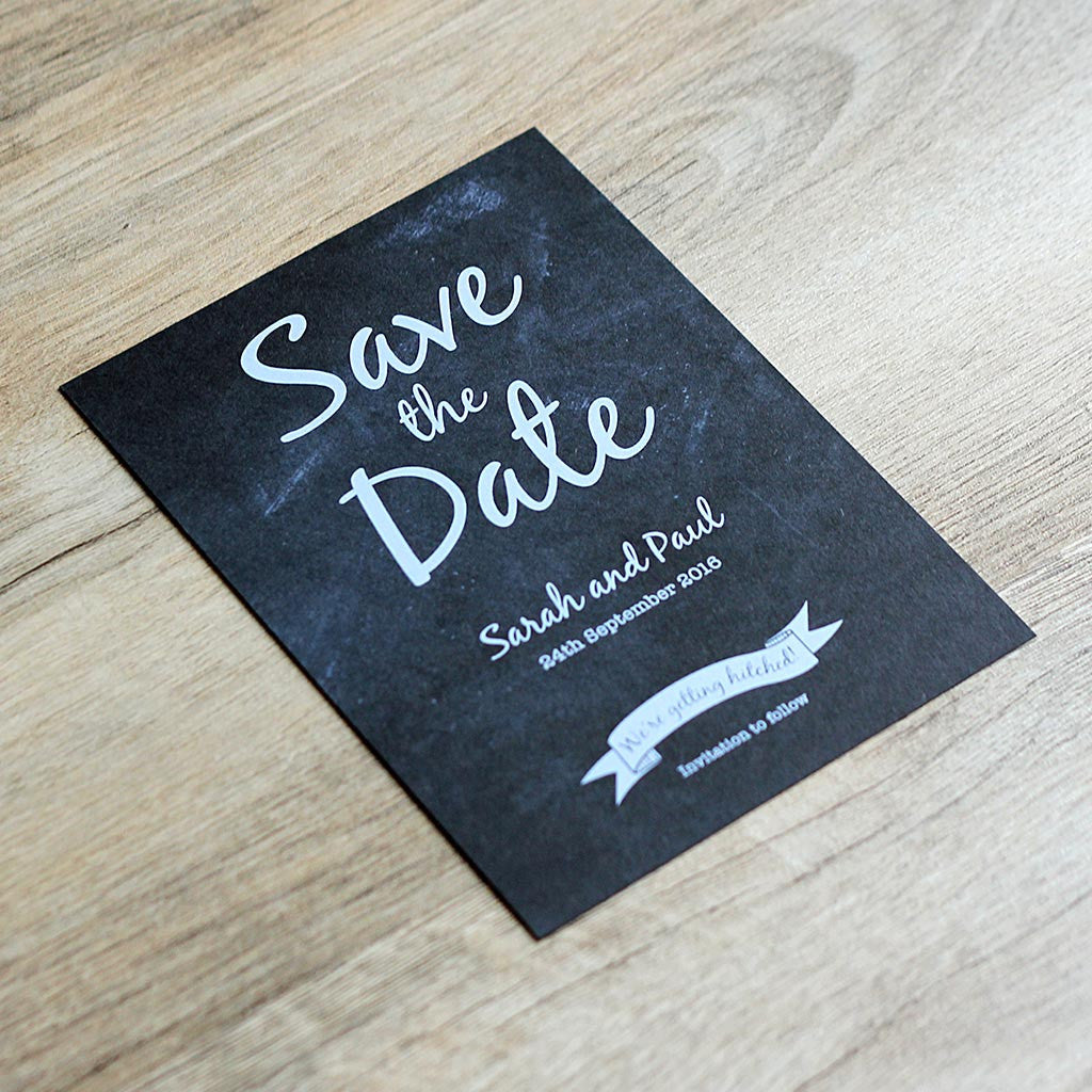 Chalkboard Vintage Save The Date Card The Pretty In Print Company