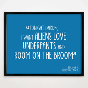 Children's Personalised 'And I Quote' Print in Lagoon