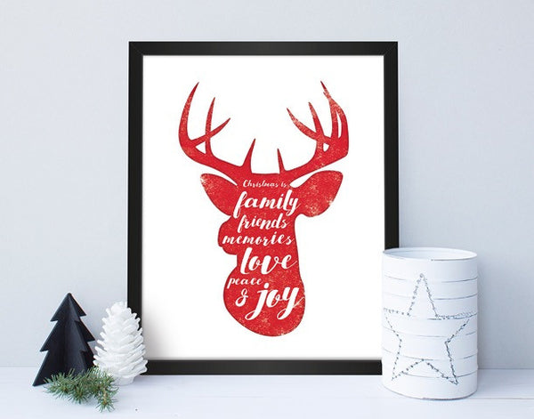 Christmas Reindeer Head Print