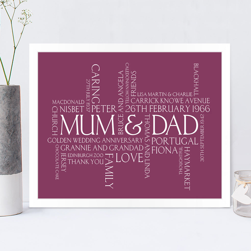 Couples Personalised Wordle Print in Blackcurrant