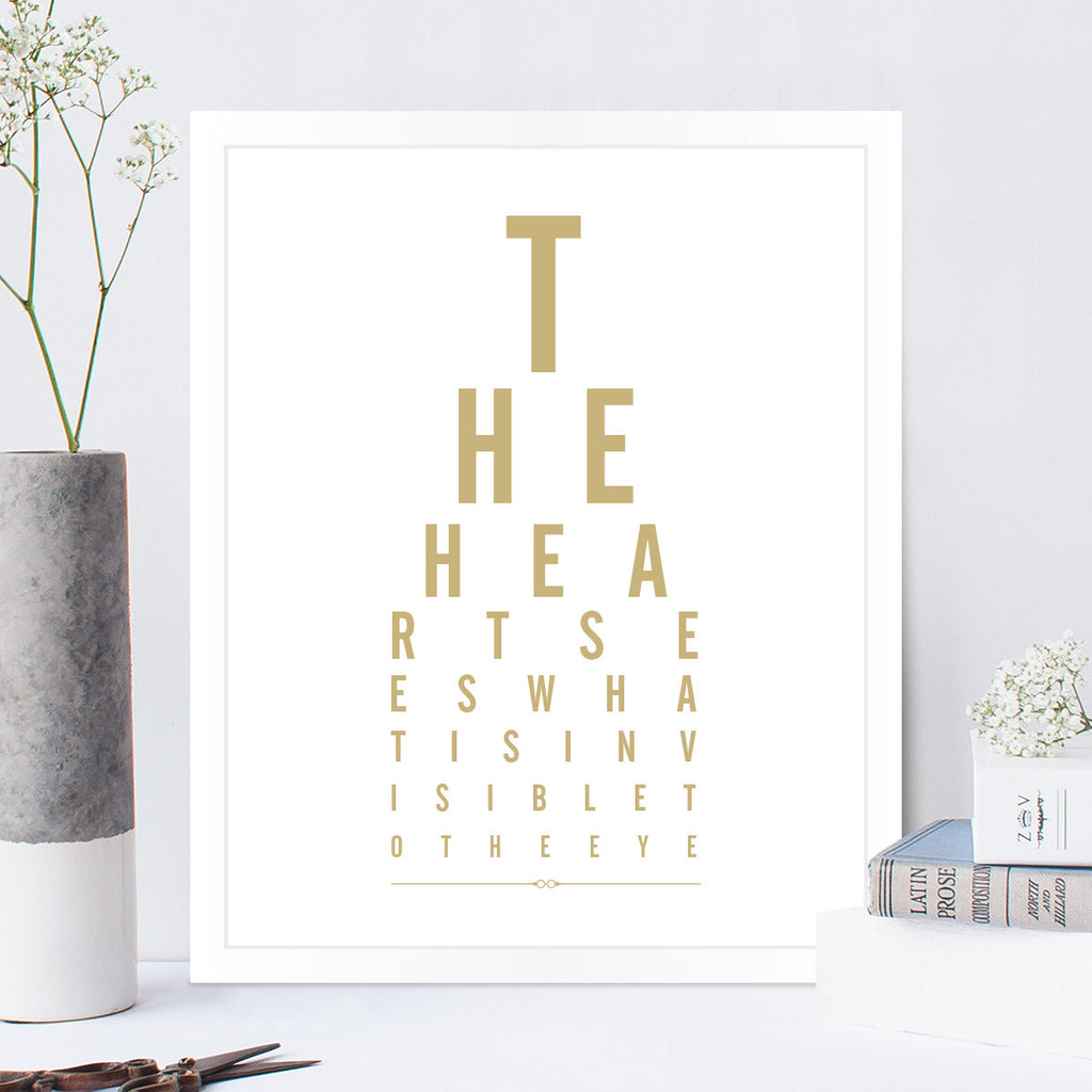 The Heart Sees Eye Chart Print in Latte
