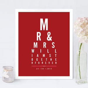 Mr & Mrs Eye Chart print in Cupid