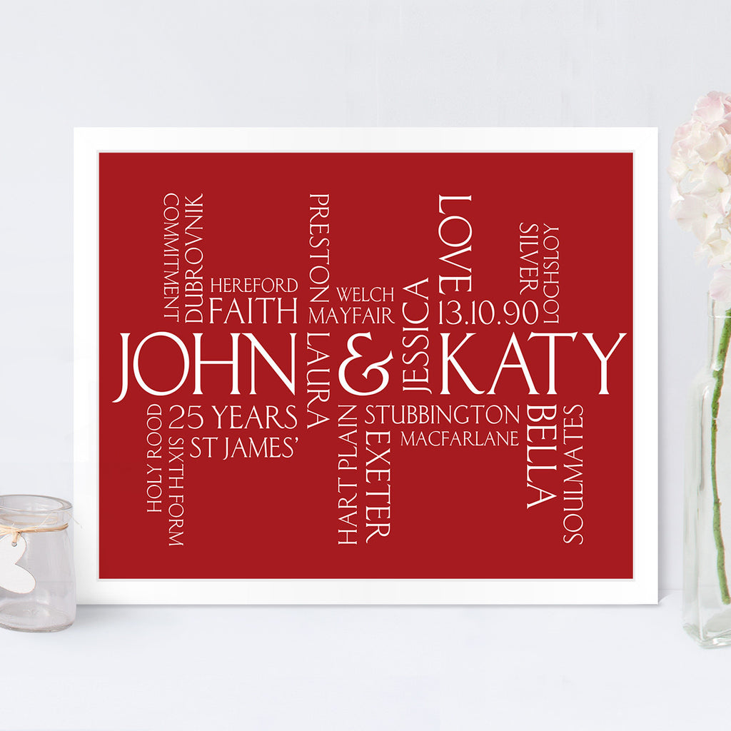 Couples Personalised Wordle Print in Cupid