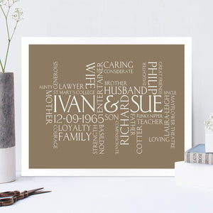 Couples Personalised Wordle Print in Truffle