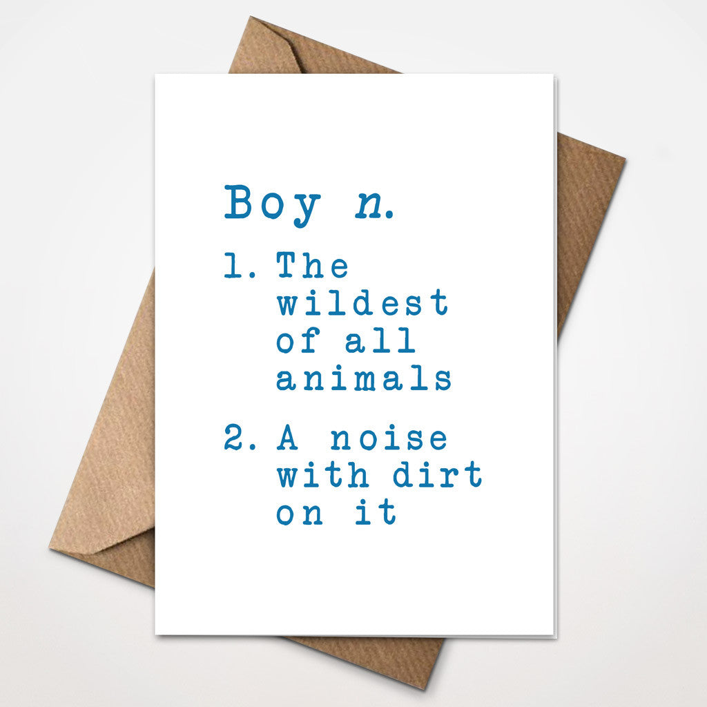 Dictionary Definition - Boy New Baby Card
