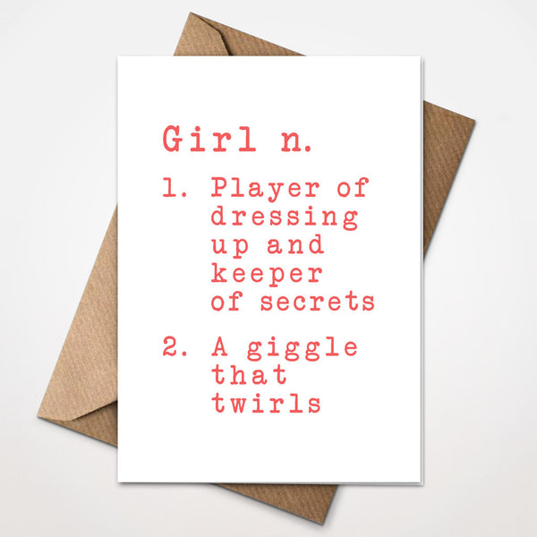Dictionary Definition - Girl New Baby Card