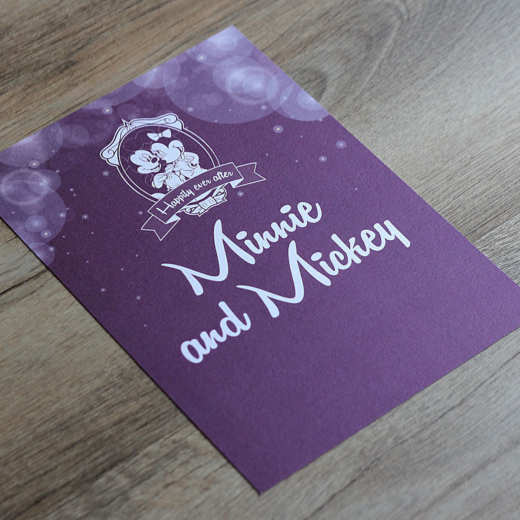 Disney themed wedding table name / number card