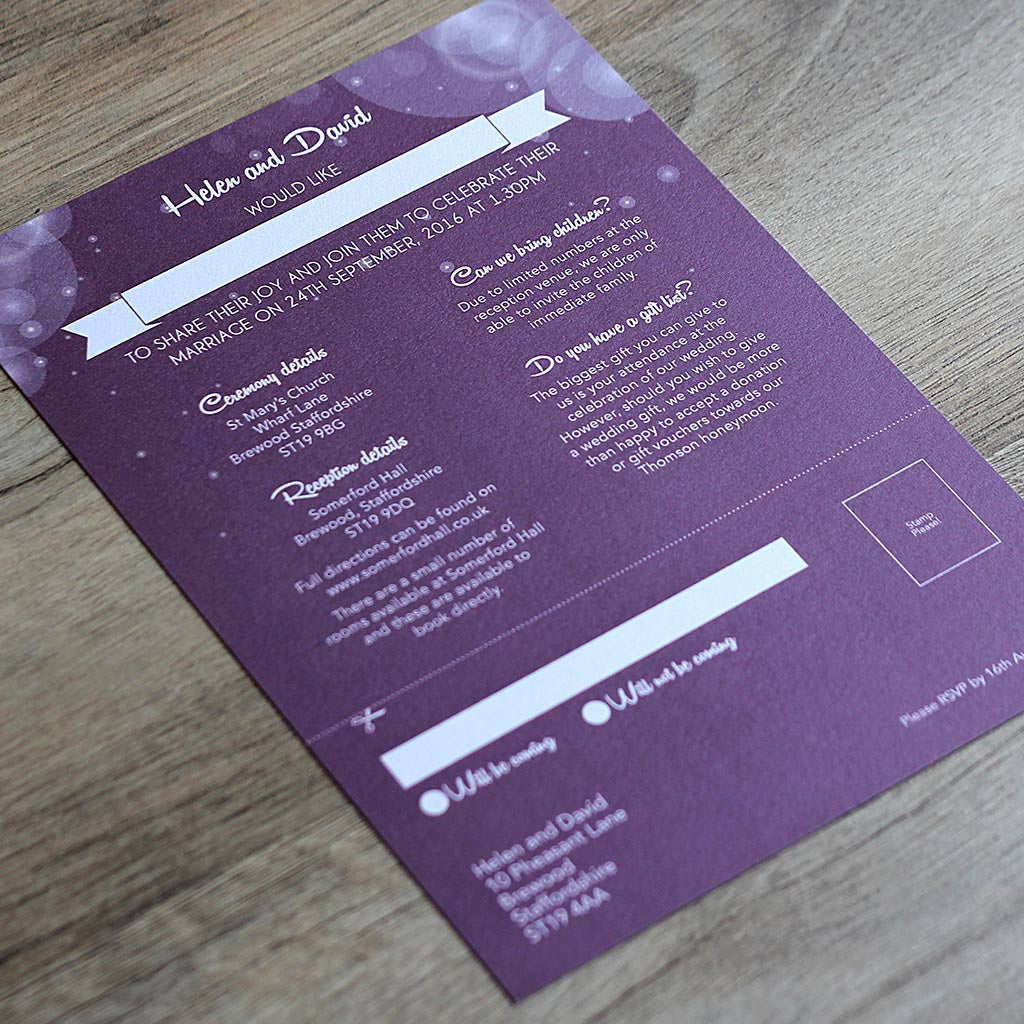 Disney Fairytale Wedding Invitation Reverse