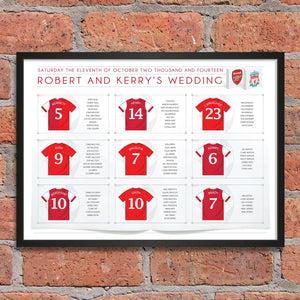 Football Wedding Table Plan