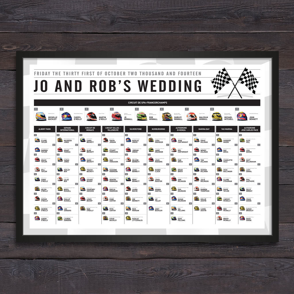 Bespoke Themed Wedding Table Plans - The Pretty in Print Company